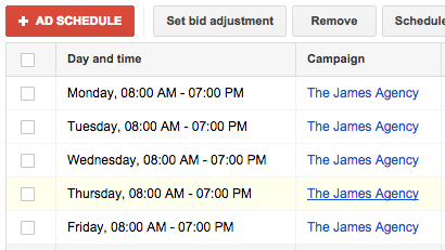 Scheduling PPC campaigns for business hours