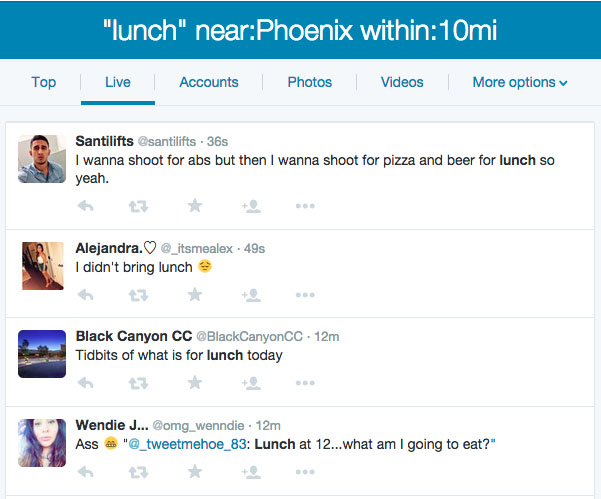 Lunch near Phoenix Twitter Search