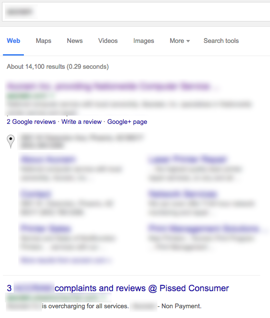 fighting negative reviews in search results